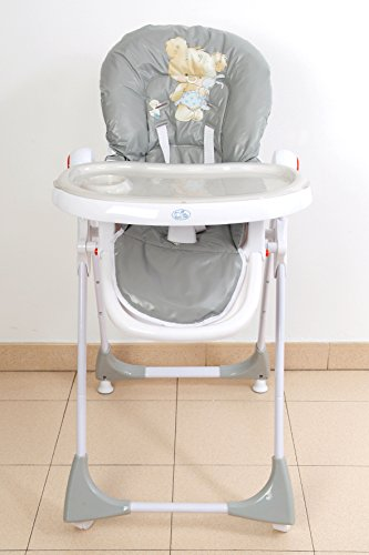 Trona para bebé regulable, doble bandeja, modelo osito gris