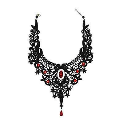 Black Lace Gothic Choker Necklace Earrings Set