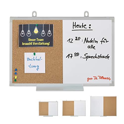 Relaxdays Kombitafel 2 in 1, Kork Pinnwand & Magnettafel, Aluminiumrahmen, Kombiboard mit Ablage, 30 x 45 cm, weiß/Natur
