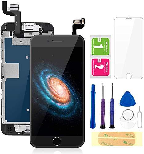 """FLYLINKTECH écran pour iPhone 6s Noir 4,7"""" LCD de Remplacement Complet - préassemblés LCD avec capteur de proximité, caméra Frontale, écouteur et Plaque arrière en métal Kit d'outils de réparation"""