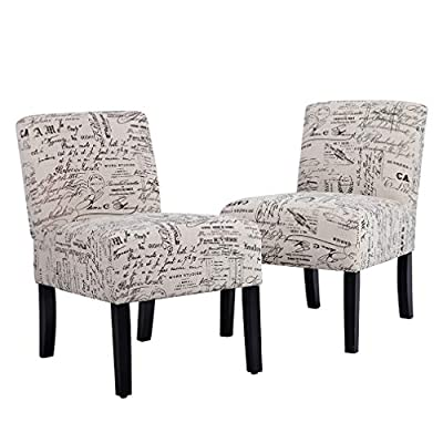 BestMassage Accent Dining Chair Club Side Upholstered Letter Print Fabric Armless Living Room Chairs - 2 Chairs