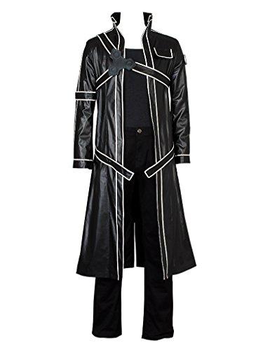 Cosfun Kirito Kirigaya Kazuto Cosplay Costume Just Coat mp002943 (US-XL) Black