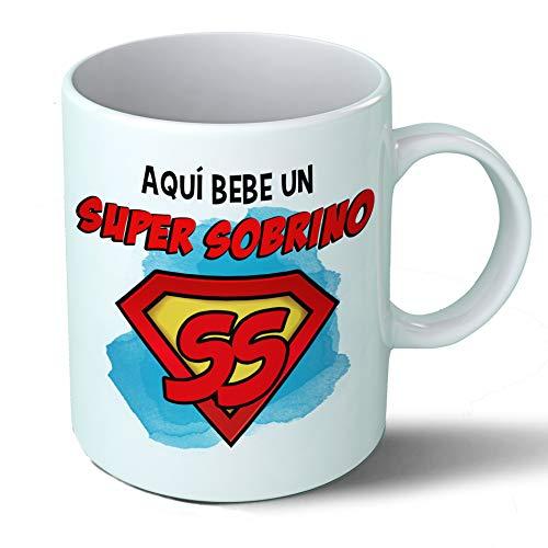 Planetacase Taza Sobrino - Aquí Bebe Un Super Sobrino - Regalo Original Sobrinos Supersobrino Familia Taza Desayuno Café Ceramica 330 mL