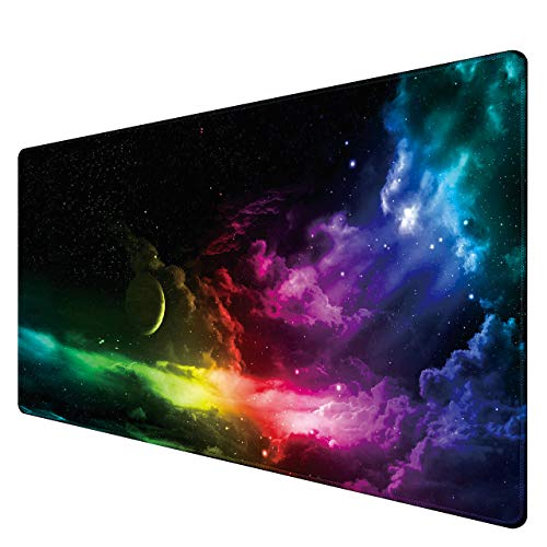 Benvo Extended Mouse Pad Large Gaming Mouse Pad- 35.4x15.7x0.12 inch Computer Keyboard Mouse Mat Non-Slip Mousepad Rubber Base and Stitched Edges for Game Players, Office, Study, Aurora Light Pattern
