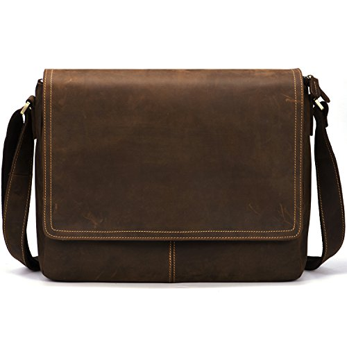 Kattee Vintage Leather Business Messenger Bag 15 inch Laptop Briefcase Crossbody Bags for Men