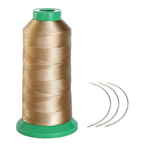 Young Hair 1700 Meters Elastic Nylon Sewing Thread 3pcs 9cm Curl Needles for Wig Making(Blonde)