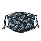 Psychedelic Bat Goth Printed Face Mask, Decorative Adjustable, With 2 Filters Gift For Men And Women Balaclava Bandana Cloth