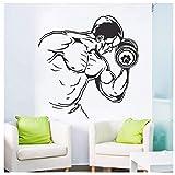 Home Gym Vinyl Aufkleber Fitness Bodybuilding Mann Hantel Wandbild Sport Inspire Aufkleber...