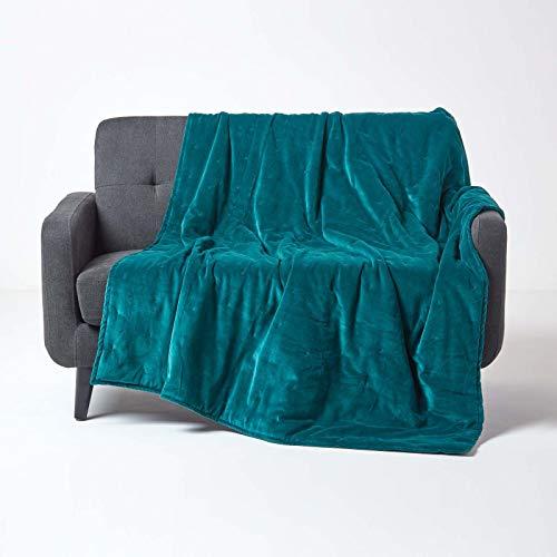 Homescapes wattierte Samt-Tagesdecke, smaragdgrün, Wendedecke 150 x 200 cm, samtig weicher Sofaüberwurf/Wohndecke, grün