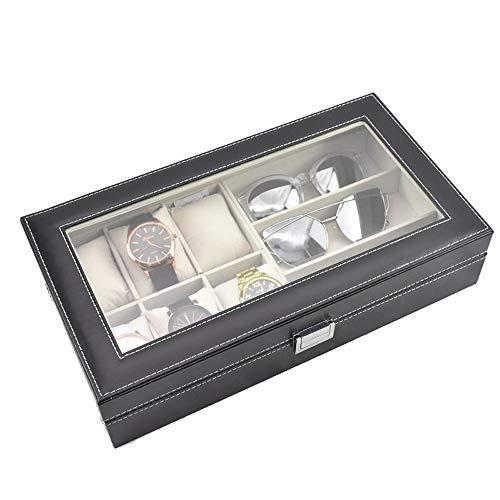 LANLANLife Caja de exhibición de Almacenamiento de Reloj de Cuero Caja de Lujo Organizador de exhibición de joyería for 6 Relojes y 3 Gafas de Sol