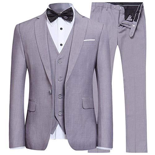 YFFUSHI Men's Slim Fit 3 Piece Suit One Button Business Wedding Prom Suits Blazer Tux Vest & Trousers Light Grey