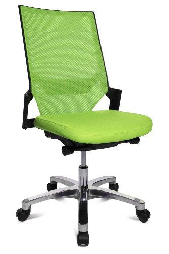 Drehstuhl Autosynchron®-1 Alu grün mit Aluminium-Fußkreuz Rückengestell schwarz ohne Armlehnen