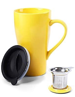 ARRADEN Tea Mug with Infuser and 2 Lids, 18oz Large Tea Infuser Cup, Tea Strainer Mug for Loose Tea, Ceramic Travel Mug with Tea Bag Holder (Yellow)