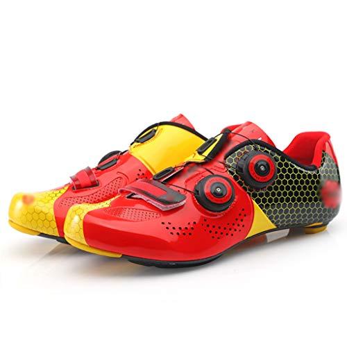 Zapatos de Bicicleta Zapatos con Bloqueo De Carretera De Fibra De Carbono, Zapatillas De Ciclismo con Hebilla De Doble Vuelta, Calzado De Bicicleta Transpirable De Microfibra