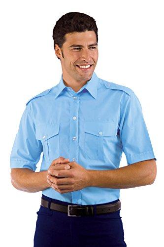 Isacco blouse pilotenhemd lichtblauw, XXL, 65% polyester, 35% katoen, halve mouwen