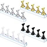 4 Sets Acrylic Nail Display Stand Nail Tip Holder Magnetic Nail Practice Stand Fingernail DIY Nail Art Stand for False Nail Tip Manicure Tool (Gold, Silver, Black, White)