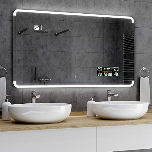 Alasta® Premium Badkamerspiegel met Verlichting - 60x80 cm - Model Assen - Spiegel met Aanraaklichtschakelaar en Weerstation P3