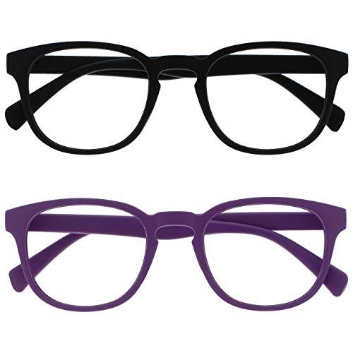 Opulize Pop Pack 2 Negro Púrpura Gafas De Distancia Short Visióned Miopía Retro Redondo Hombres Mujeres Bisagras Resorte MM2-15 -1,00