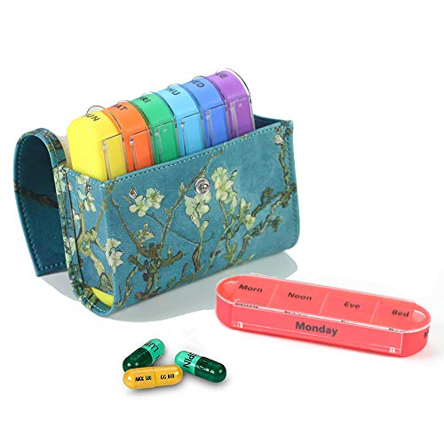 Pill Organizer,LIZIMANDU Weekly Travel Pill Case Box Medication Reminder Daily AM PM, Day Night 7 Compartments,for 4 Times A Day, 7 Days a Week-Includes Leather PU Carrying Case(Peach Blossom)