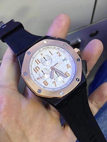 HHBB Marca de lujo Hombres Reloj Cronógrafo Cronógrafo Zafiro Acero Inoxidable Oro Rosa Negro Caucho Luminoso Relojes Aaa+ 3