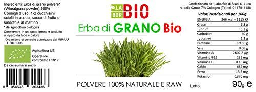 ERBA DI GRANO IN POLVERE BIO 90G - 100% PURA E NATURALE - ALTA QUALITA' - RAW   GLUTEN FREE