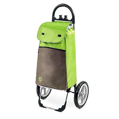 Moderner Einkaufstrolley Esana in grün mit 55L & extra Kühlfach - großer Shoppingwagen Shoppingtrolley bis 30kg belastbar