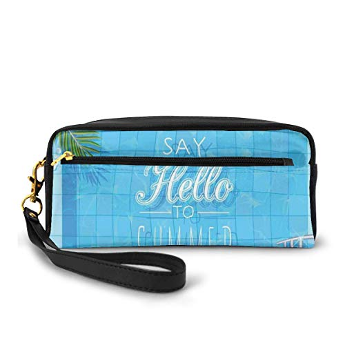 Pencil Case Pen Bag Pouch Stationary,Say Hello to The Summer Slogan on A Pool with Ladder Flip Flops and Flowers Design,Small Makeup Bag Coin Purse