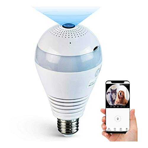 1080P Light Bulb Camera 360 Degrees Panoramic Cameras 2.4GHz WiFi Security Camera, VR Home Surveillance 2.0MP Wireles IP LED Cam, Replay/Night Vision/Alarm/Motion Detection