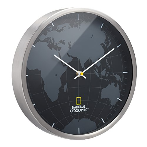 National Geographic geräuschlose Wanduhr (mit übersichtlichem Ziffernblatt, Weltkartenhintergrund und Gehäuse aus gebürstetem Aluminium)