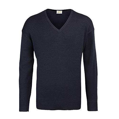 RTY Workwear - Jersey/Sweater Cuello Pico Lana acrilico Hombre Caballero (4XL) (Azul Marino)