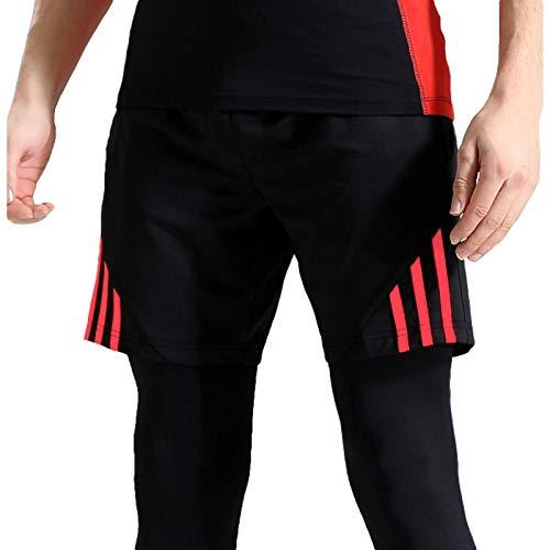 Katenyl Pantalones Cortos Deportivos de Fitness para Hombres Moda al Aire Libre a Rayas Ejercicio a Juego para Correr Casual Pantalones Cortos básicos de Talla Grande XL
