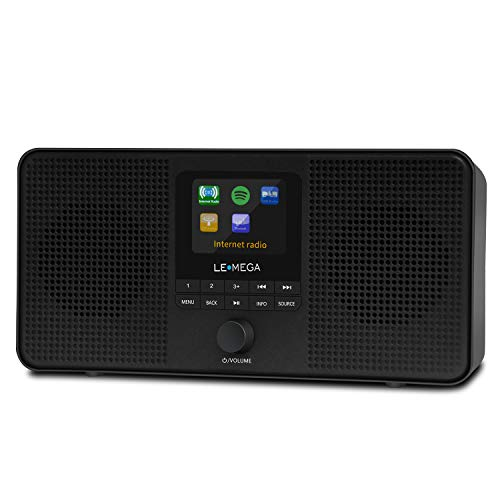 LEMEGA IR4S Portable Stereo Internet Radio,FM Digital Radio,WiFi,Spotify Connect,Bluetooth,Dual Alarms&Clock,Kitchen/Sleep/Snooze Timer,40 Pre-Sets,Headphones-Black