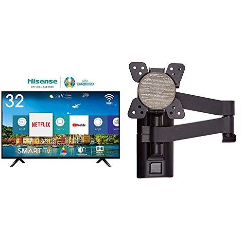 "Hisense H32BE5500 Smart TV 32' (80 cm) HD, 2 HDMI, 2 USB, DBX Audio, processore Quad Core, Smart TV VIDAA U 2.5 & AmazonBasics - Staffa snodata da parete, per TV da 12"" a 39"""