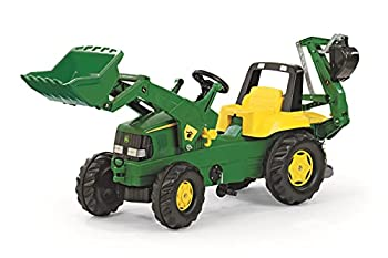 rolly toys John Deere Pedal Tractor with Working Loader and Backhoe Digger Youth Ages 3+