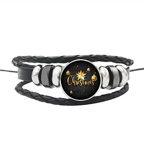 Elf House Unique Gold Glass Balls and Stars Illustration Bracelet,Dome Glass Bracelet, Artistic