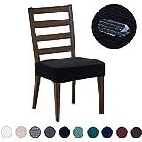 DEZENE Fundas para sillas de Comedor (Paquete de 4): Repelente al Agua, fácil de Instalar, Muy elástica - Silla de Comedor Funda de Asiento/Protector para Mascotas de Perros y Gatos,Negro