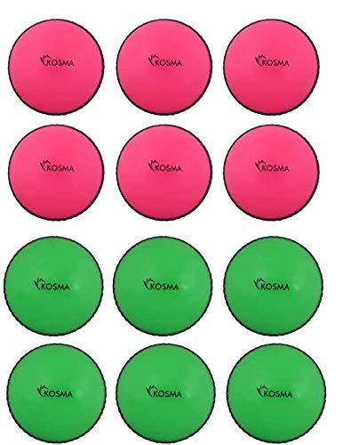 Kosma Set mit 12 Windball-Cricket-Bällen | weiche Trainingsbälle | Indoor Training Skills Coaching-Bälle – 6 Stück Pink mit schwarzer Naht, 6 Stück Grün mit schwarzer Naht