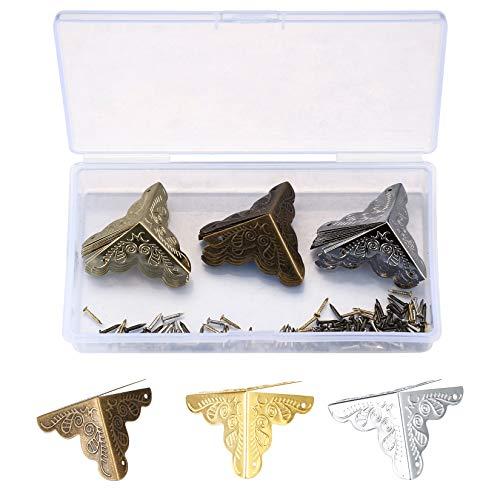 Antike Möbel-Pads Eckenschutz, Tischkantenschutz, Metallbox Holzkiste, dekorative Bronze-Protektoren mit Schrauben