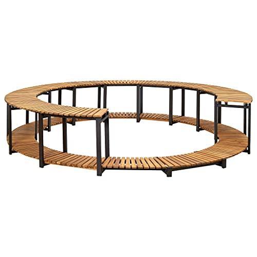 vidaXL Revestimiento de madera de acacia maciza para jacuzzi, resistente a la intemperie, borde de piscina, 273 x 53 cm, marco de aluminio
