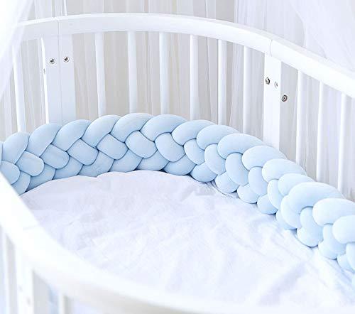 EXQULEG 220cm Baby 4 Weben Bettumrandung Nestchen Stoßstang Kantenschutz Kopfschutz für Babybett Bettausstattung Kinderbett (Blau)