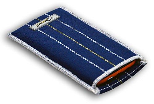 Norrun Handytasche / Handyhülle # Modell Kunni # ersetzt die Handy-Tasche von Hersteller / Modell Alcatel Mandarina Duck # maßgeschneidert # mit einseitig eingenähtem Strahlenschutz gegen Elektro-Smog # Reinigungseinlage # Made in Germany