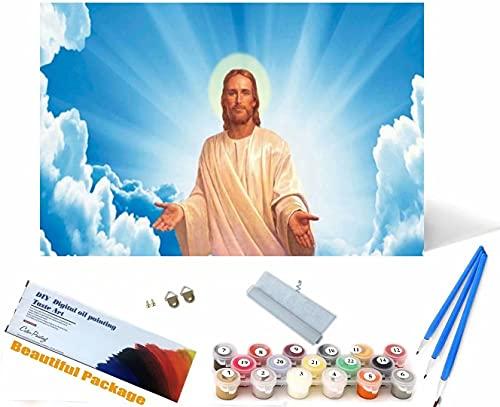 Beaxqb Dipingere con i Numeri Kit Cultura Religiosa con pennelli e pigmento Acrilico Regalo per Donne Mamma Figlia Natale Compleanno Decorazione della casa 30x40cm