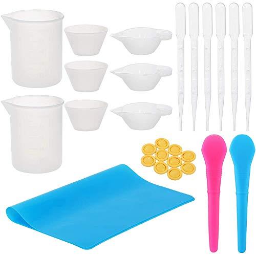 Gaoominy Kit de Tazas para Mezclar de Resina con Tazas Medidoras de Silicona de 100 Ml, Cucharas, Pipetas, Cunas para Dedos, Tapete de Silicona para Bricolaje