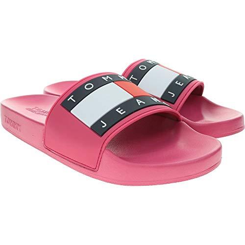 Pantoffeln Damen TOMMY HILFIGER flag pool slide en0en00474 36 rot