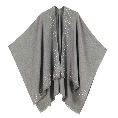 MELIFLUOS DESIGNED IN SPAIN - Poncho para mujer, ruana con parte delantera abierta, ideal para otoño e invierno - gris - Talla Única