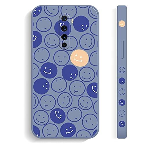 """Grandcaser Capa para Realme X2 Pro Ultrafino Smiley Silicone Líquido TPU Absorção Choque Anti-queda Capa protetora para Realme X2 Pro 6.5""""-Smiley em tela cheia azul"""