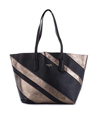 PATRIZIA PEPE shopping bag pelle made in Italy 2V7800 dark sliver e nero