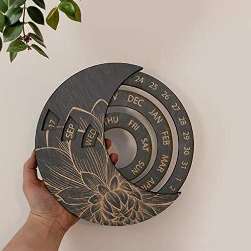 Taloit Calendario perpetuo de madera – Calendario de montaje en pared redondo, calendario de escritorio de estudio, decoración de artesanía de madera para el hogar sala de estar