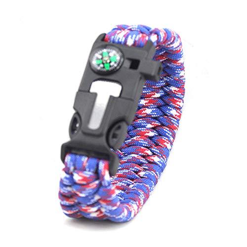 DLSM Outdoor emergency rescue outdoor equipment survival bracelet Flintstone umbrella rope escape bracelet-2pcs-Red, blue and white camouflage