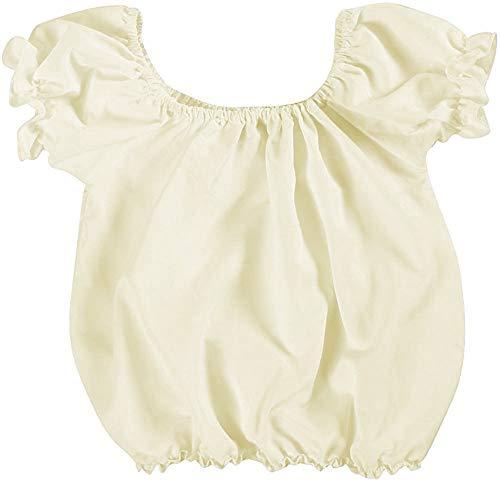 Making Believe Girls Short Sleeve Peasant Blouse, Cream, X-Large 10-12